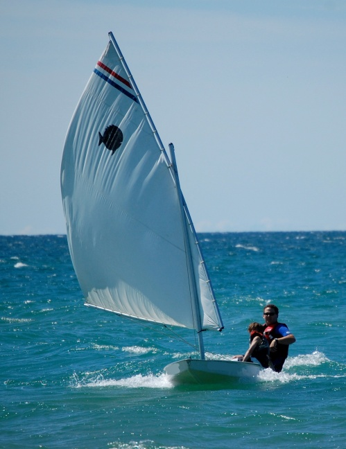 t2 & me sailing in towards shore